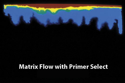 Water traveling at a Matrix Flow with Primer Select heat image